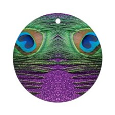Glittery Purple Peacock Curtains Round Ornament