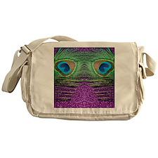 Glittery Purple Peacock Curtains Messenger Bag
