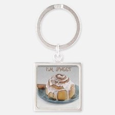 Sweet Cinnamon Roll Square Keychain