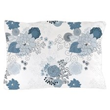 Blue Whimsical Floral Pillow Case