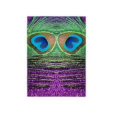 Glittery Purple Peacock Curtains 5'x7'Area Rug