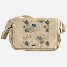 Blue Whimsical Floral Messenger Bag