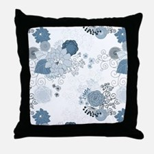Blue Whimsical Floral Throw Pillow