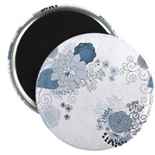 Blue Whimsical Floral Magnet