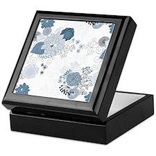 Blue Whimsical Floral Keepsake Box
