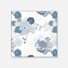 """Blue Whimsical Floral Square Sticker 3"""" x 3"""""""