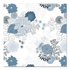 "Blue Whimsical Floral Square Car Magnet 3"" x 3"""