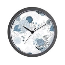 Blue Whimsical Floral Wall Clock