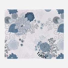 Blue Whimsical Floral Throw Blanket
