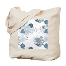 Blue Whimsical Floral Tote Bag