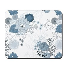 Blue Whimsical Floral Mousepad