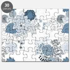 Blue Whimsical Floral Puzzle