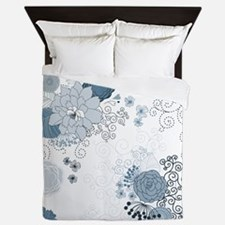Blue Whimsical Floral Queen Duvet