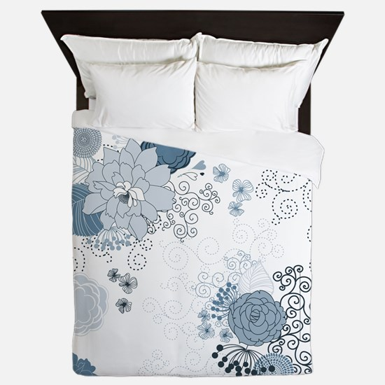 Blue Whimsical Floral Queen Duvet