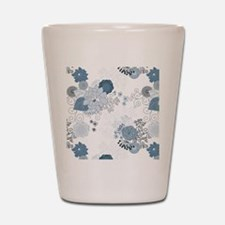 Blue Whimsical Floral Shot Glass