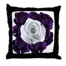 Black White Roses Throw Pillow