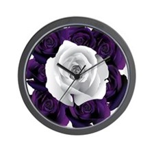 Black White Roses Wall Clock
