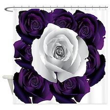 Black White Roses Shower Curtain