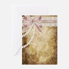 Vintage Pearls and Lace Greeting Card