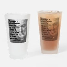 Churchill on courage Drinking Glass