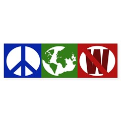Peace, Earth, Not W (bumper sticker)