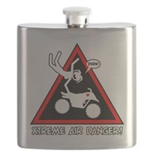 XTREME AIR STICKGIRL danger sign Flask