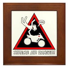 XTREME AIR STICKGIRL danger sign Framed Tile