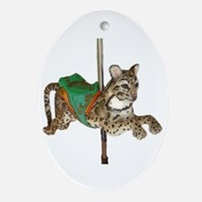 carousel fishing cat Oval Ornament