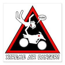 "XTREME AIR STICKGIRL dan Square Car Magnet 3"" x 3"""