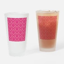 Pink on Pink Damask Drinking Glass