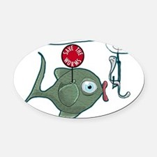 Funny Fishing Oval Car Magnet