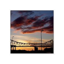 """Summer Sunset in Winona, MN Square Sticker 3"""" x 3"""""""