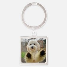 Goldendoodle Puppy Dog Square Keychain