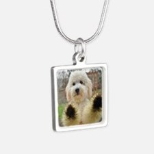 Goldendoodle Puppy Dog Silver Square Necklace