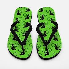 Green Cycling Pattern. Flip Flops