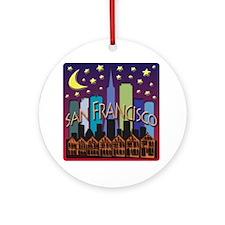 San Francisco Skyline Mega Color Round Ornament