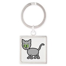 Green Eyed Gray Cat. Square Keychain