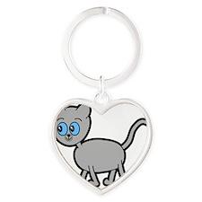 Blue Eyed Gray Cat. Heart Keychain