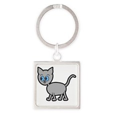 Blue Eyed Gray Cat. Square Keychain