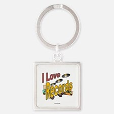 I Love Records Square Keychain
