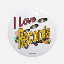 I Love Records Round Ornament