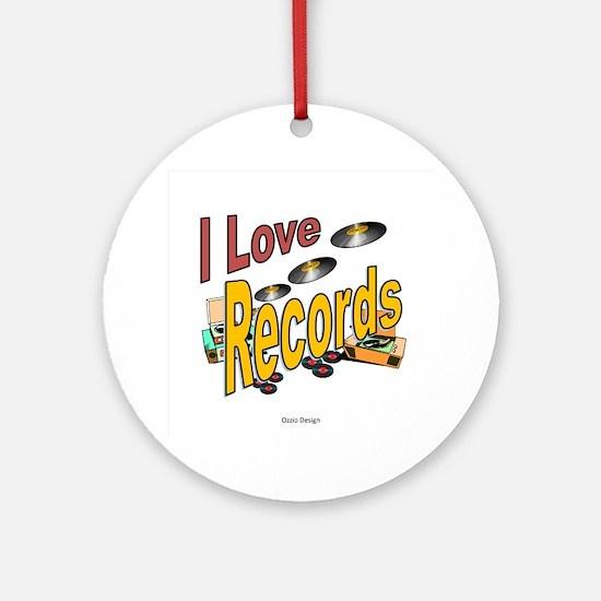 I Love Records Round Ornament