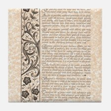 The Desiderata Poem by Max Ehrmann Tile Coaster