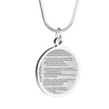 gray stone celtic parchment  Silver Round Necklace