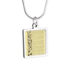 maize stone calli parchmen Silver Square Necklace
