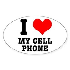 I Heart (Love) My Cell Phone Oval Decal