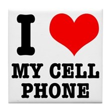 I Heart (Love) My Cell Phone Tile Coaster