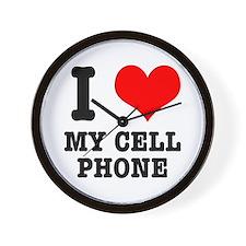 I Heart (Love) My Cell Phone Wall Clock