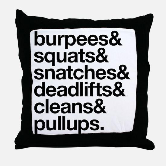 Crossfit Essentials Black Text Throw Pillow