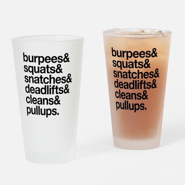 Crossfit Essentials Black Text Drinking Glass